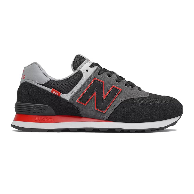 New Balance Herren Sneaker 574 black/velocity red